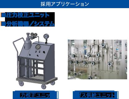 [採用アプリケーション] ■圧力校正ユニット ■分析機器/システム
