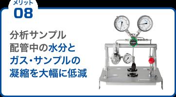 メリット08 分析サンプル配管中の水分とガス・サンプルの凝縮を大幅に低減